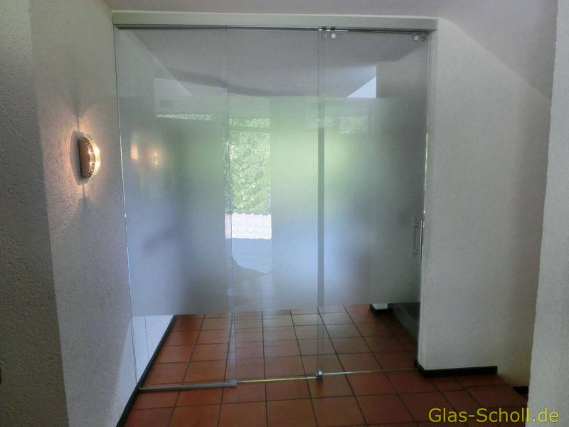 3teilige Synchron Laufende Schiebeturanlage Als Raumteiler Von Glas
