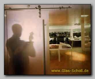 Hiska glaswand mit satinato schiebet ren - Glaswande innen ...