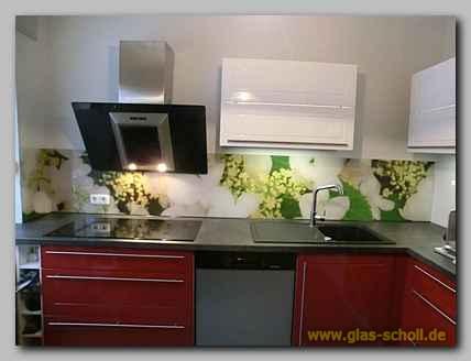 Küchenspritzschutz mit Apfelblüten Digitaldruckmotiv von Glas Scholl ...